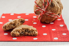 Dietary cookies with dried fruits on red napkin and tied with a Stock Photography