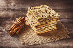 Dietary crunchy cracker with cereals sunflower seeds, flax and Stock Photography