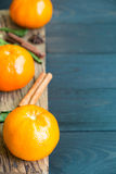 Dietary fiber from Mandarin orange with scent on wooden Stock Photos
