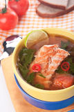 Dietary fish soup with spinach an hot pepper Stock Image