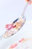 dietary flakes mjölkar jordgubben arkivbild