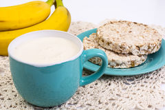 Dietary food: bread from whole grains, and yogurt. Studio Photo royalty free stock photos