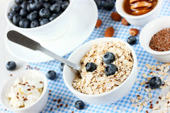 Dietary Food Concept - Granola With Blueberry, Nuts, Honey For B Royalty Free Stock Image