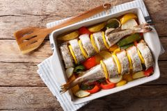 Dietary food pink cod baked with vegetables and lemon in a bakin. G dish close-up on the table. Horizontal top view from above Stock Photo
