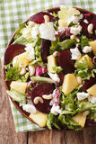 Dietary food: salad of beets, pineapple, cream cheese and greens Stock Images