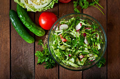Dietary healthy salad of fresh vegetables Stock Photos