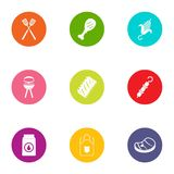 Dietary icons set, flat style. Dietary icons set. Flat set of 9 dietary vector icons for web isolated on white background Stock Photo