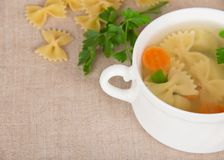 Dietary macaroni soup and pasta Stock Image