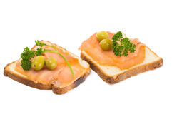 Dietary Meal. Smoked Salmon and Olives Royalty Free Stock Image