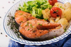Baked salmon steak with cauliflower, tomatoes and herbs. stock images