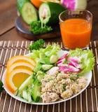 Dietary menu. Breakfast. Oatmeal porridge with vegetables. Royalty Free Stock Photos