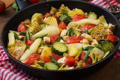 Dietary menu. Steamed vegetables with chicken fillet in pan. Royalty Free Stock Photos