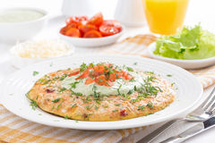 Dietary omelette with carrot and yogurt sauce for breakfast Royalty Free Stock Photos