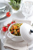 Dietary pasta with spinach, zucchini and cherry tomatoes Stock Photo