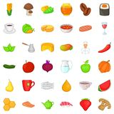 Dietary product icons set, cartoon style. Dietary product icons set. Cartoon style of 36 dietary product vector icons for web isolated on white background Royalty Free Stock Image