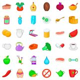 Dietary product icons set, cartoon style. Dietary product icons set. Cartoon style of 36 dietary product vector icons for web  on white background Royalty Free Stock Images