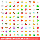 100 dietary products icons set, cartoon style Royalty Free Stock Photo