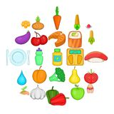 Dietary products icons set, cartoon style. Dietary products icons set. Cartoon set of 25 dietary products vector icons for web isolated on white background Royalty Free Stock Photo