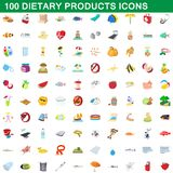 100 dietary products icons set, cartoon style. 100 dietary products icons set in cartoon style for any design illustration vector illustration