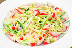 Dietary Salad with Crab Sticks, Cucumber and Stock Photography