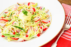 Dietary Salad with Crab Sticks, Cucumber and Stock Image