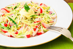 Dietary Salad with Crab Sticks, Cucumber and Stock Images