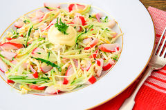 Dietary Salad with Crab Sticks, Cucumber and. Cheese Studio Photo Royalty Free Stock Photography