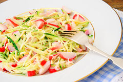 Dietary Salad with Crab Sticks, Cucumber and Royalty Free Stock Photos