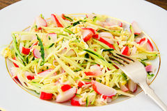 Dietary Salad with Crab Sticks, Cucumber and Royalty Free Stock Photo