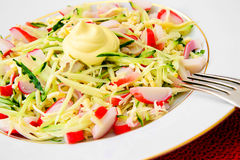Dietary Salad with Crab Sticks, Cucumber and Royalty Free Stock Images
