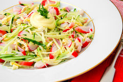 Dietary Salad with Crab Sticks, Cucumber and Royalty Free Stock Photography