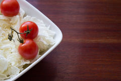 Dietary salad with fresh vegetables tomato, Chinese cabbage. stock image