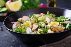 Dietary salad with mussels, quail eggs, cucumbers, radish and lettuce. Healthy food. Seafood salad Royalty Free Stock Photography