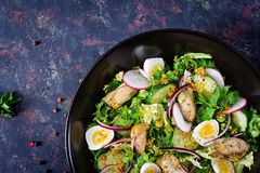 Dietary salad with mussels, quail eggs, cucumbers, radish and lettuce. Healthy food. Seafood salad. Top view. Flat lay Royalty Free Stock Photos