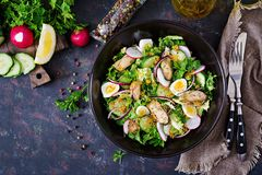 Dietary salad with mussels, quail eggs, cucumbers, radish and lettuce. Healthy food. Seafood salad. Top view. Flat lay Stock Photography