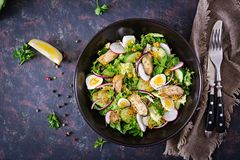 Dietary salad with mussels, quail eggs, cucumbers, radish and lettuce. Healthy food. Seafood salad. Top view. Flat lay Stock Images