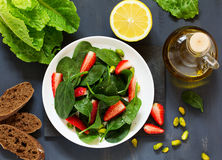 Dietary salad with strawberries Stock Photos