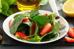 Dietary salad with strawberries Stock Images