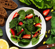 Dietary salad with strawberries Royalty Free Stock Photos
