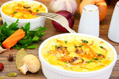 Dietary Scrambled Eggs with Carrots and Mushrooms Stock Photography