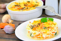 Dietary Scrambled Eggs with Carrots and Mushrooms Stock Image