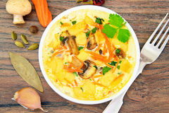 Dietary Scrambled Eggs with Carrots and Mushrooms Stock Photo
