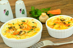 Dietary Scrambled Eggs with Carrots and Mushrooms Royalty Free Stock Photography