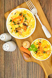 Dietary Scrambled Eggs with Carrots and Mushrooms Stock Images