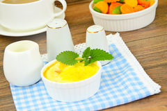 Dietary Scrambled Eggs with Mint Royalty Free Stock Image
