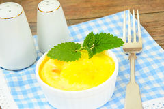 Dietary Scrambled Eggs with Mint Royalty Free Stock Images