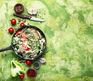 Dietary scrambled eggs from proteins. Protein scrambled eggs with asparagus beans. Fried eggs with vegetables stock images