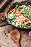 Dietary scrambled eggs from proteins. Protein scrambled eggs with asparagus beans. Fried eggs with vegetables.Vegetarian food stock photos