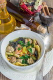 Dietary soup with pasta and meatballs turkey. Stock Images