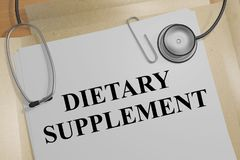 Dietary Supplement concept. 3D illustration of DIETARY SUPPLEMENT title on a medical document Stock Photography